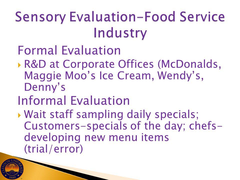 Sensory Evaluation-Food Service Industry