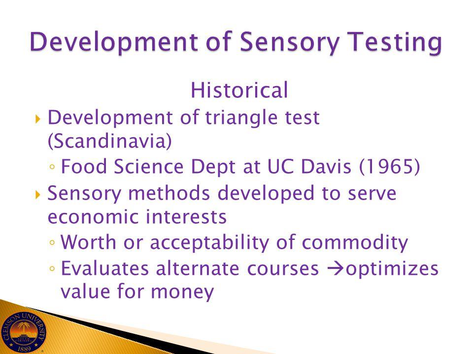 Development of Sensory Testing