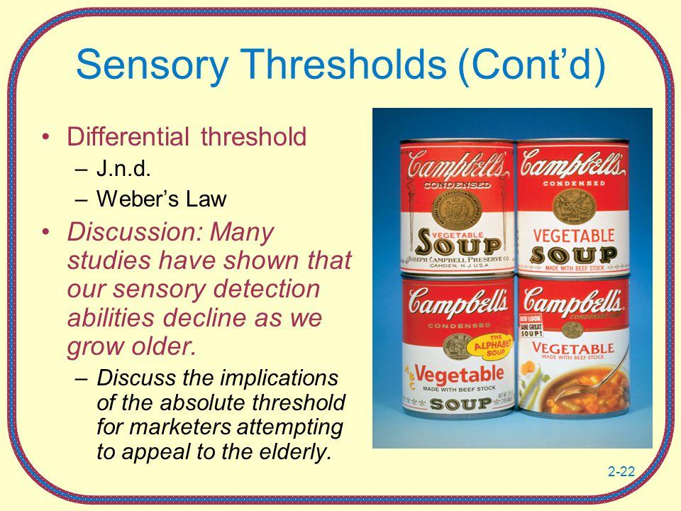 Sensory Thresholds (Cont'd)