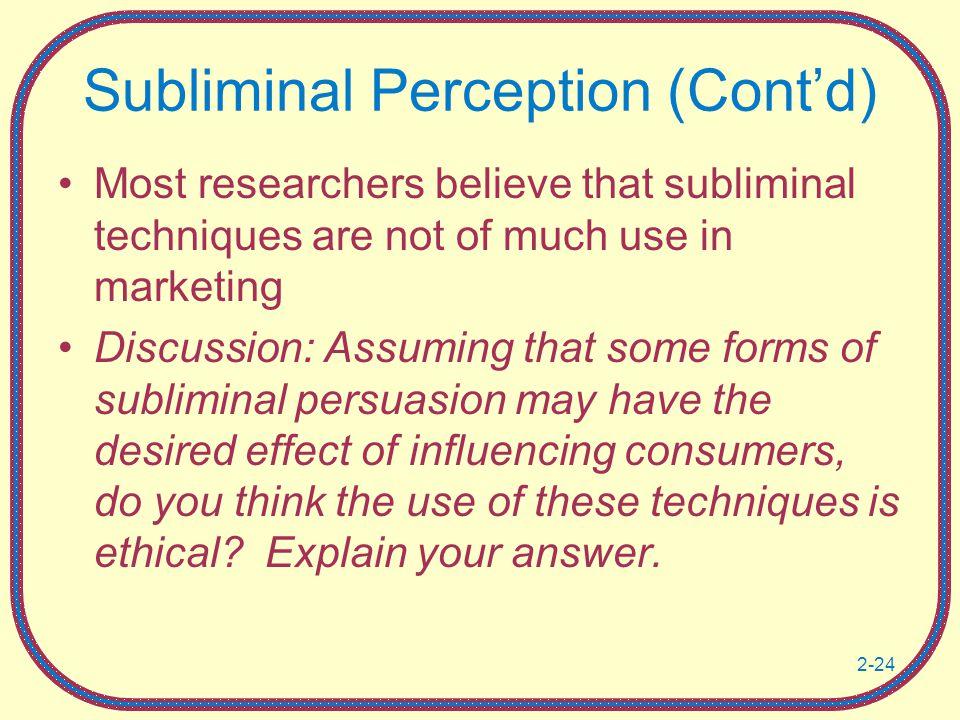 Subliminal Perception (Cont'd)