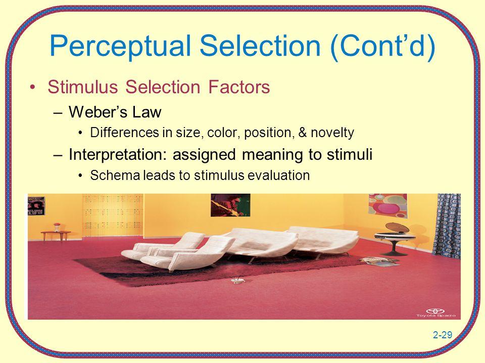 Perceptual Selection (Cont'd)