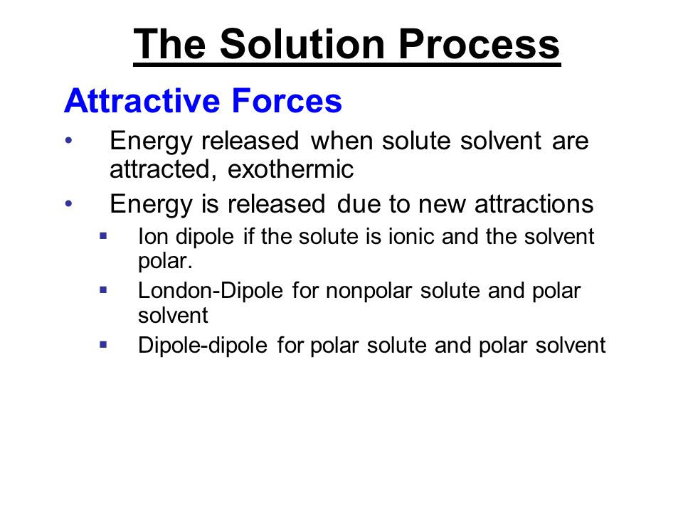 The Solution Process Attractive Forces
