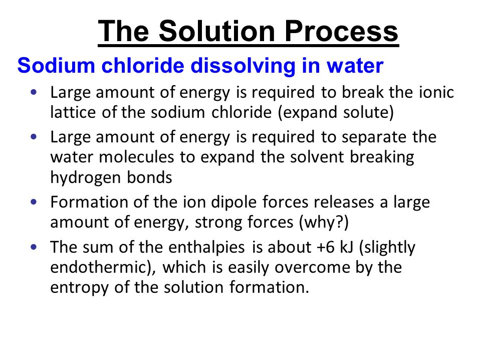 The Solution Process Sodium chloride dissolving in water