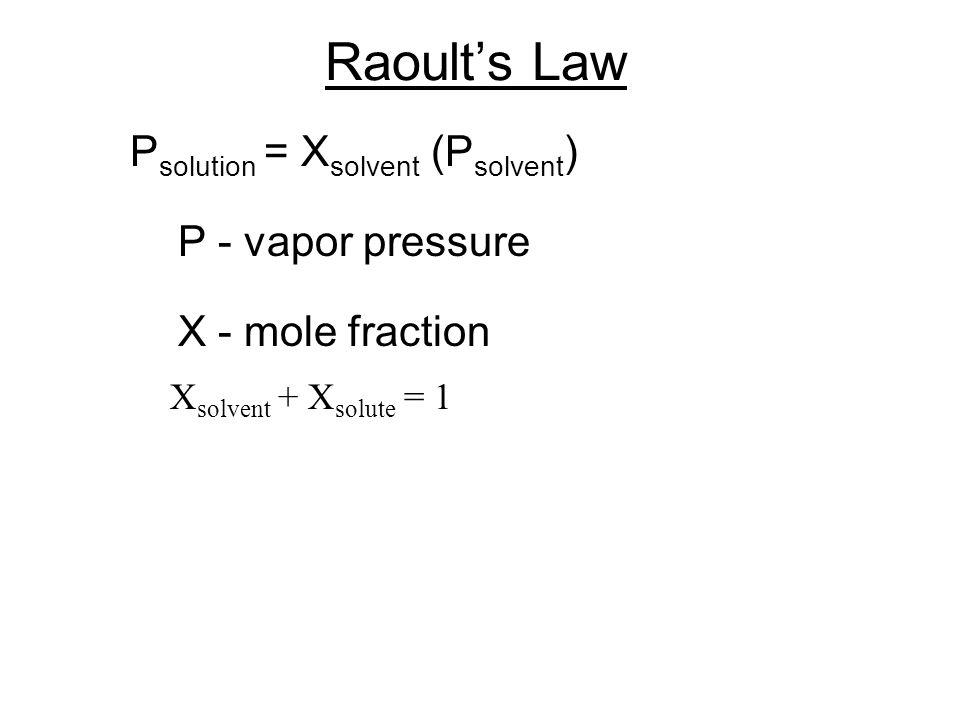 Raoult's Law Psolution = Xsolvent (Psolvent) P - vapor pressure