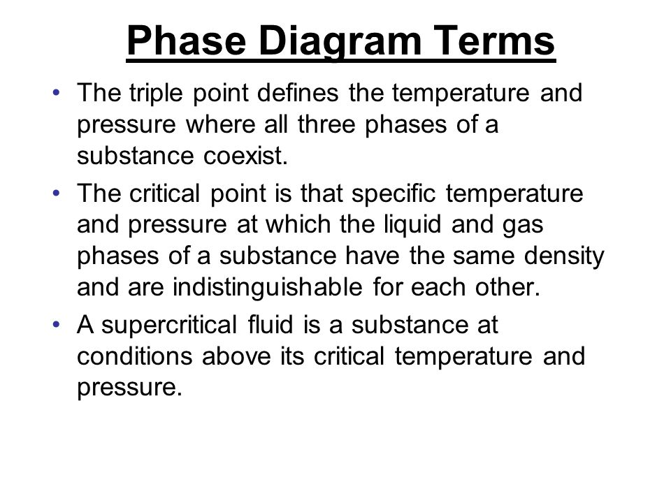 Phase Diagram Terms The triple point defines the temperature and pressure where all three phases of a substance coexist.