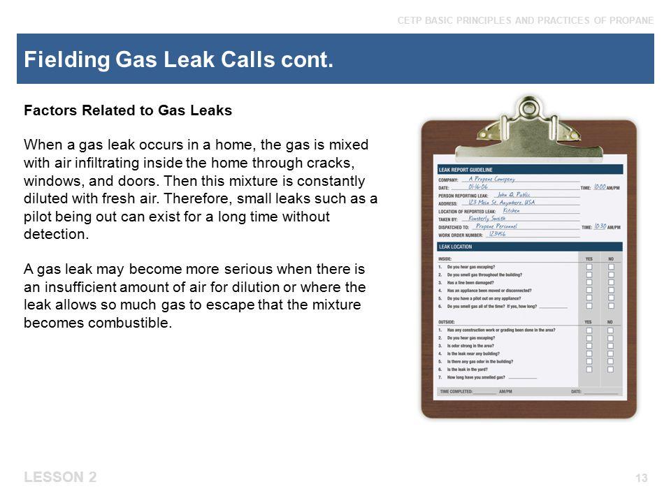 Fielding Gas Leak Calls cont.