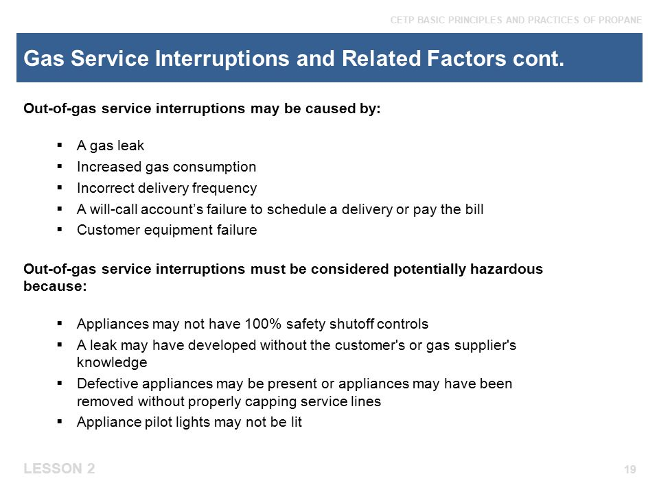 Gas Service Interruptions and Related Factors cont.