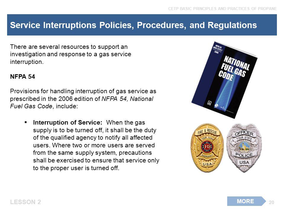 Service Interruptions Policies, Procedures, and Regulations