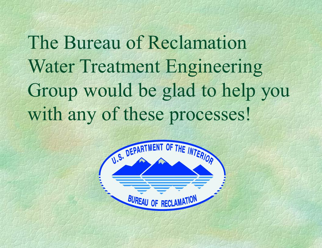 The Bureau of Reclamation Water Treatment Engineering Group would be glad to help you with any of these processes!