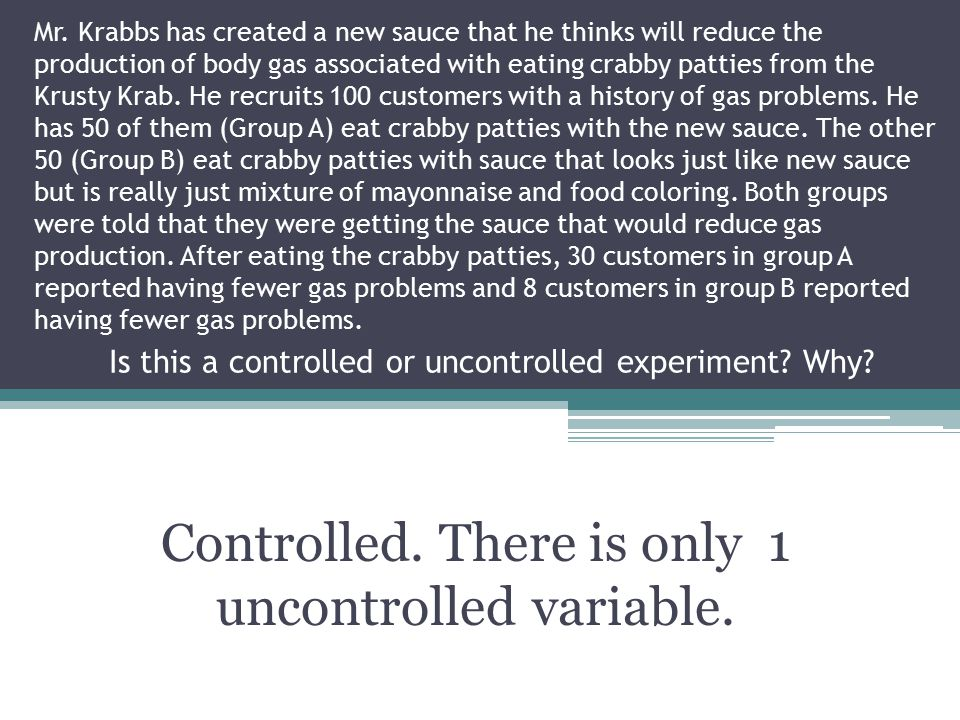 Controlled. There is only 1 uncontrolled variable.