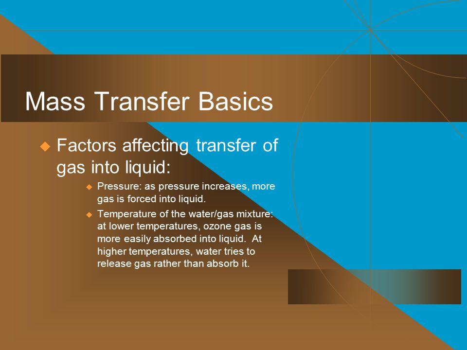 Mass Transfer Basics Factors affecting transfer of gas into liquid: