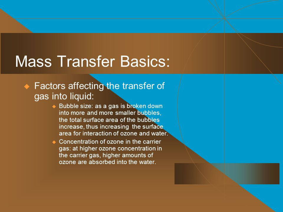 Mass Transfer Basics: Factors affecting the transfer of gas into liquid: