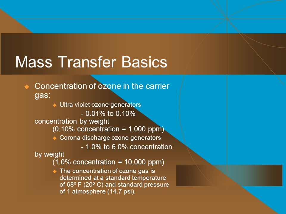 Mass Transfer Basics Concentration of ozone in the carrier gas: