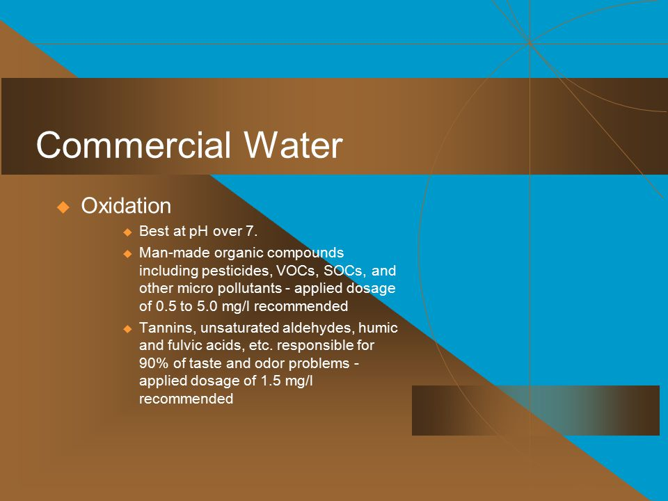 Commercial Water Oxidation Best at pH over 7.