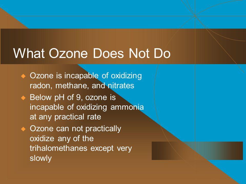 What Ozone Does Not Do Ozone is incapable of oxidizing radon, methane, and nitrates.