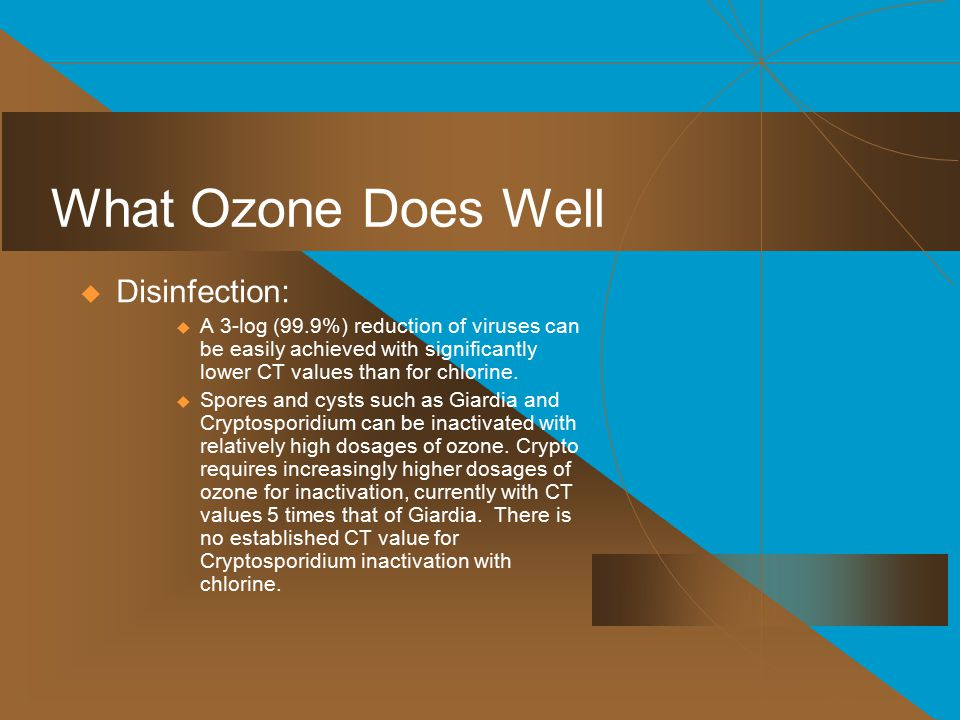 What Ozone Does Well Disinfection: