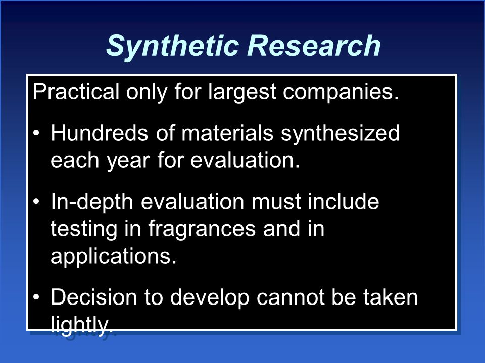 Synthetic Research Practical only for largest companies.