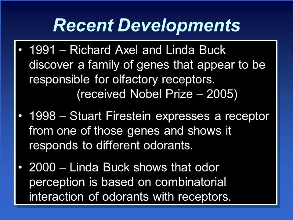 Recent Developments 1991 – Richard Axel and Linda Buck discover a family of genes that appear to be responsible for olfactory receptors.
