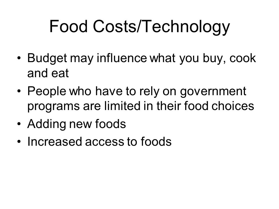Food Costs/Technology