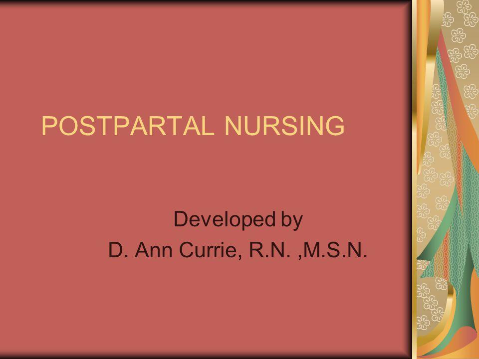 Developed by D. Ann Currie, R.N. ,M.S.N.