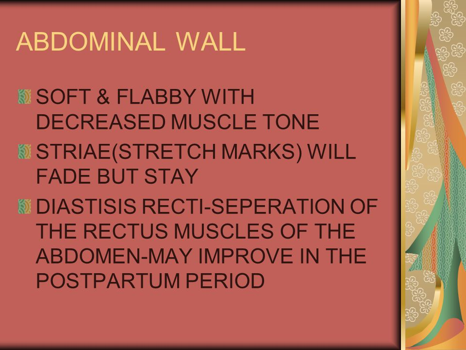 ABDOMINAL WALL SOFT & FLABBY WITH DECREASED MUSCLE TONE