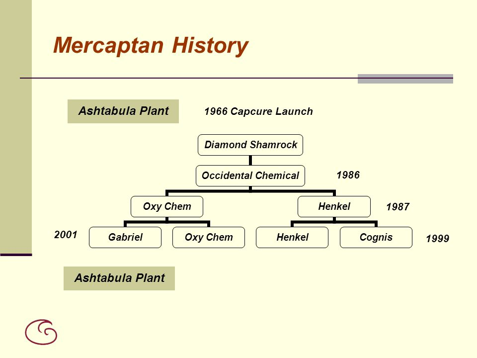 Mercaptan History Ashtabula Plant 1966 Capcure Launch 1986 1987 2001