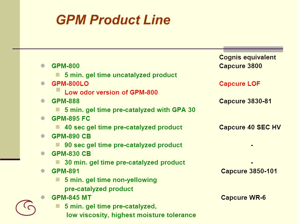 GPM Product Line GPM-800 Capcure 3800
