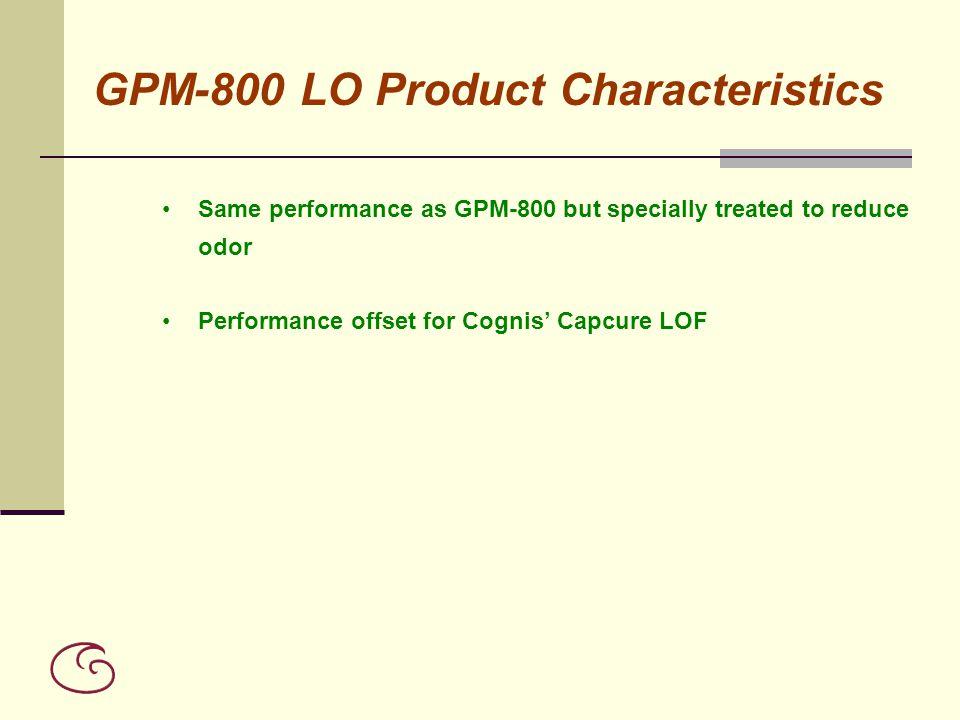 GPM-800 LO Product Characteristics