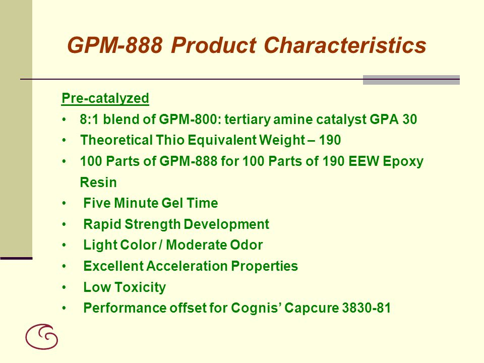GPM-888 Product Characteristics