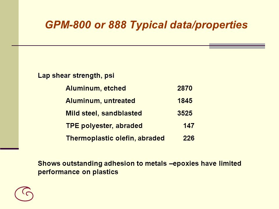 GPM-800 or 888 Typical data/properties