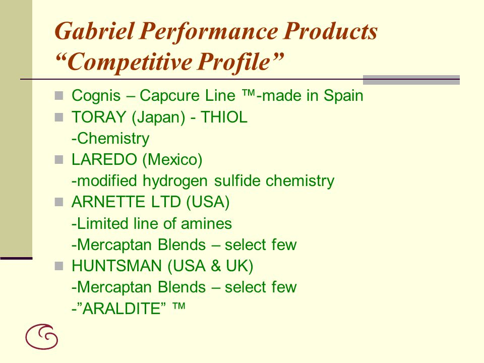 Gabriel Performance Products Competitive Profile