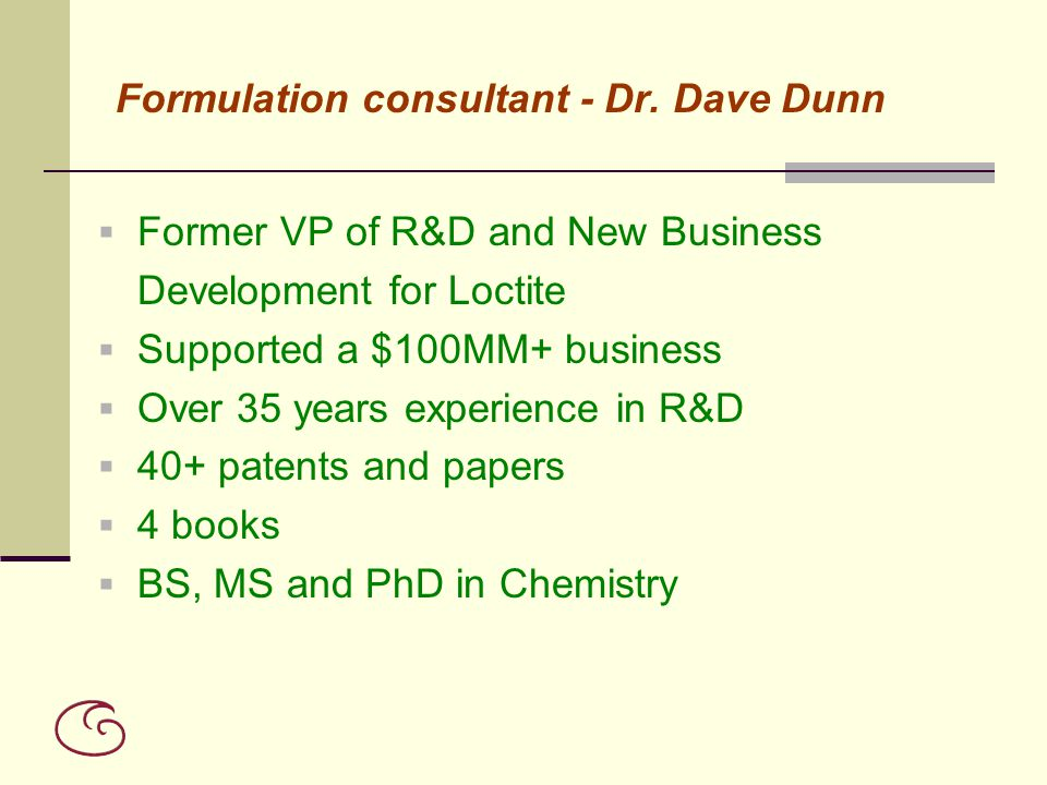 Formulation consultant - Dr. Dave Dunn