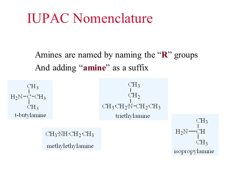 IUPAC Nomenclature Amines are named by naming the R groups