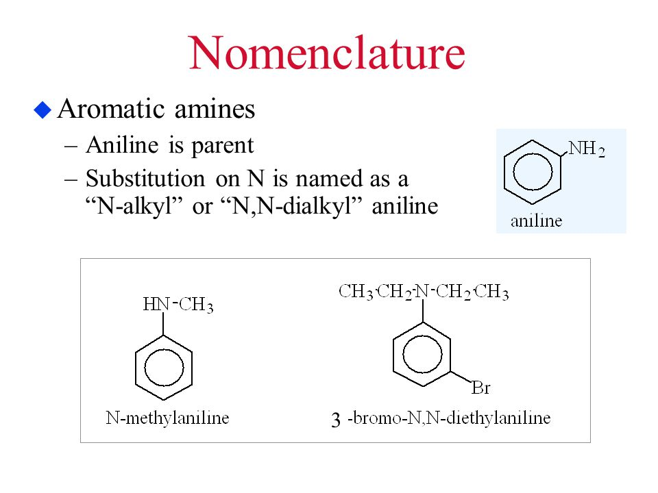Nomenclature Aromatic amines Aniline is parent