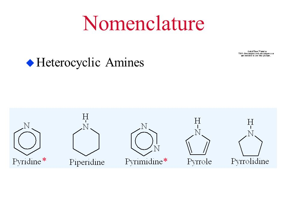 Nomenclature Heterocyclic Amines *