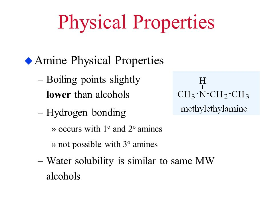 Physical Properties Amine Physical Properties
