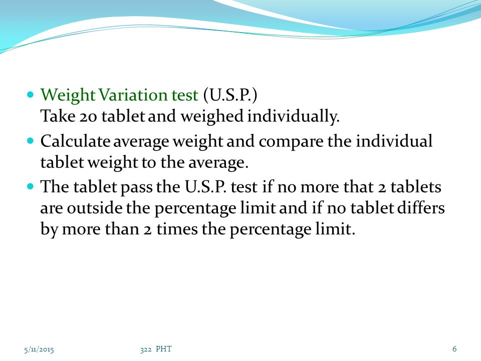 Weight Variation test (U. S. P