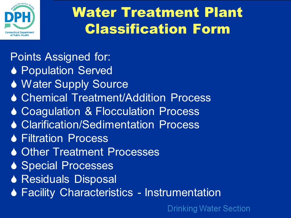 Water Treatment Plant Classification Form