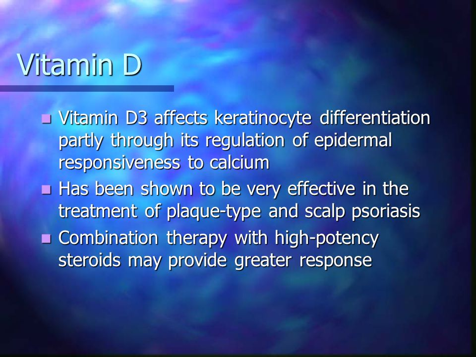 Vitamin D Vitamin D3 affects keratinocyte differentiation partly through its regulation of epidermal responsiveness to calcium.