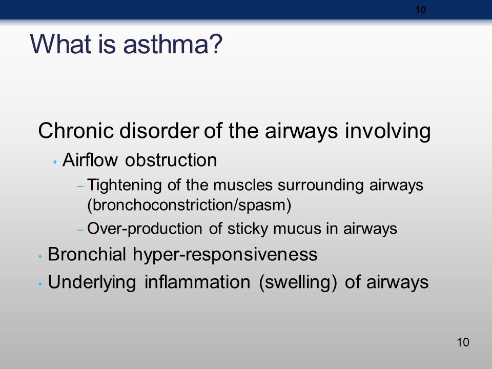 What is asthma Chronic disorder of the airways involving