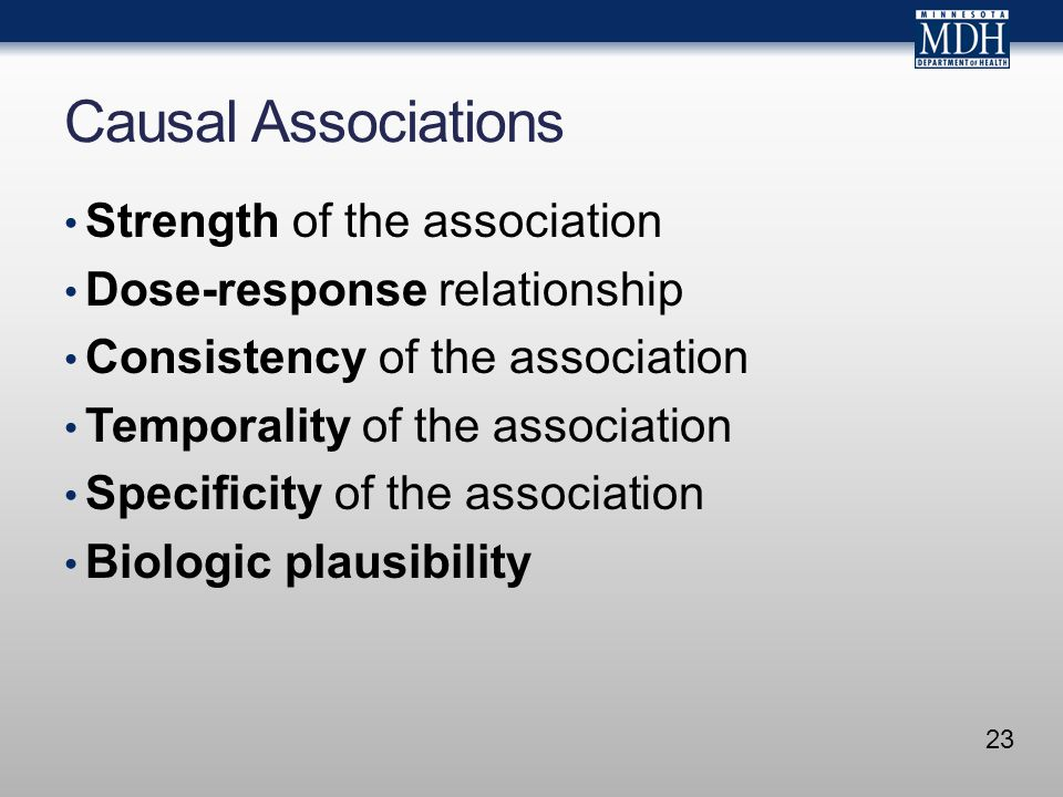 Causal Associations Strength of the association