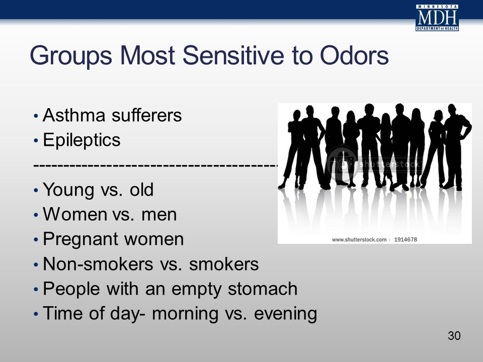 Groups Most Sensitive to Odors