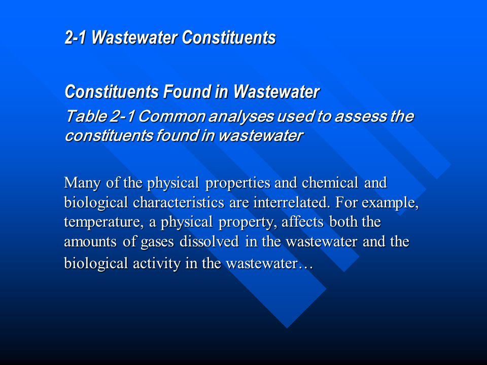 2-1 Wastewater Constituents Constituents Found in Wastewater