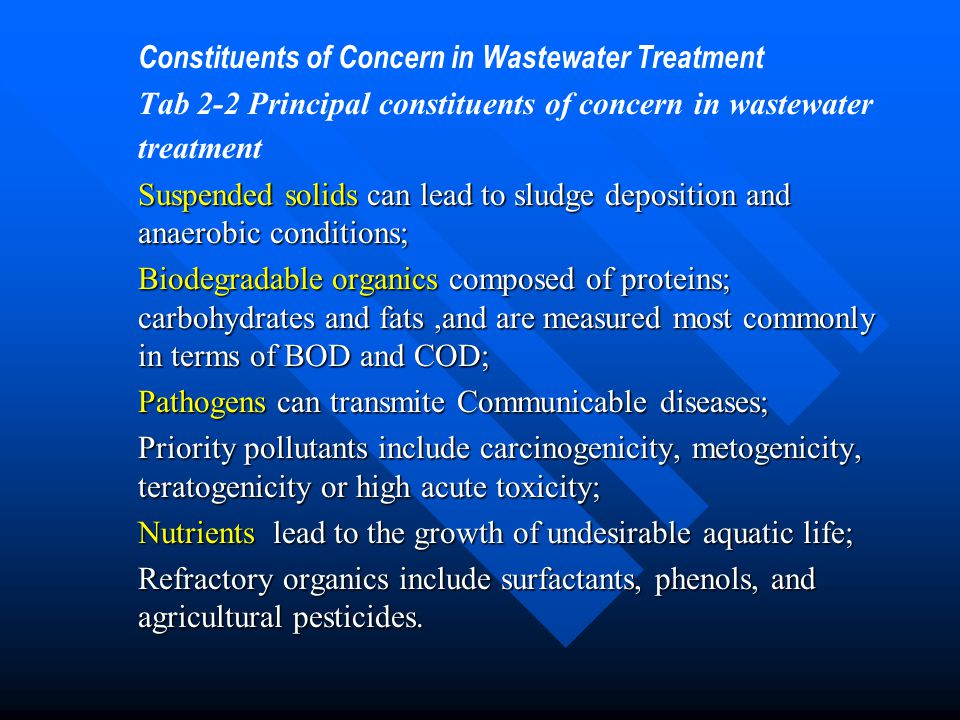 Constituents of Concern in Wastewater Treatment