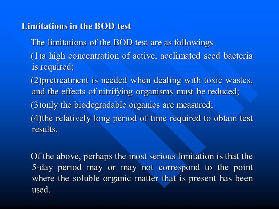 Limitations in the BOD test