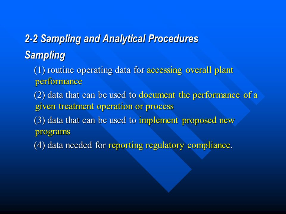 2-2 Sampling and Analytical Procedures Sampling
