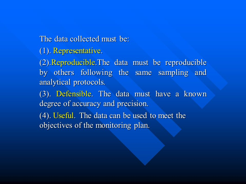 The data collected must be: