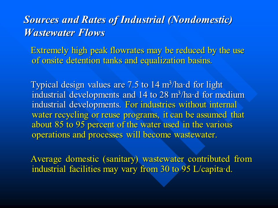 Sources and Rates of Industrial (Nondomestic) Wastewater Flows