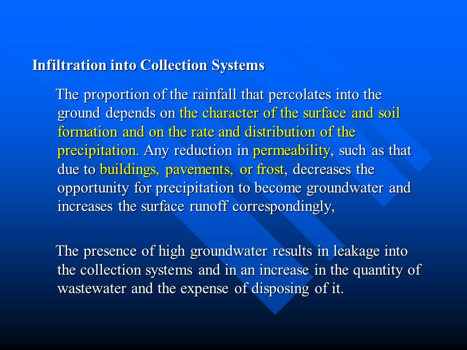 Infiltration into Collection Systems