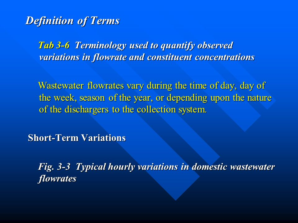 Definition of Terms Tab 3-6 Terminology used to quantify observed variations in flowrate and constituent concentrations.